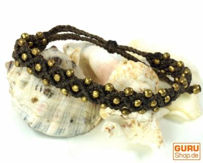 Ethno Perlenarmband, Makrameee Armband - braun