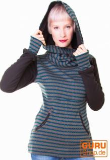 Pullover aus Bio-Baumwolle mit Kapuze / Chapati Design - olive sporty