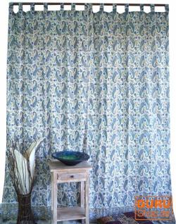 Boho Vorhänge, Gardine (1 Paar ) mit Schlaufen, handbedruckter ethno Style Vorhang - Paisley Design