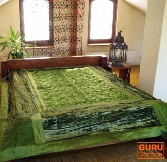 Brokat- Samtdecke, Tagesdecke, Bettüberwurf - henna/grün - Vorschau 1