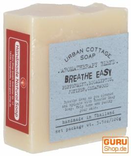 Handgemachte Aromatherapie Duftseife BREATHE EASYY, 100g, Fair Trade - Pfefferminz-Eukalyptus-Wacholder-Zeder