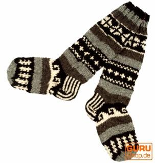 Handgestrickte Schafwollsocken, Nepal Socken 38/39