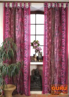 Boho Patchwork Vorhänge, 1 Paar Bohemia Gardine aus Sareestoff, Unikat - pink