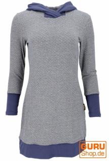 Flauschiges Minikleid mit Kapuze, Boho Kleid Organic - blau