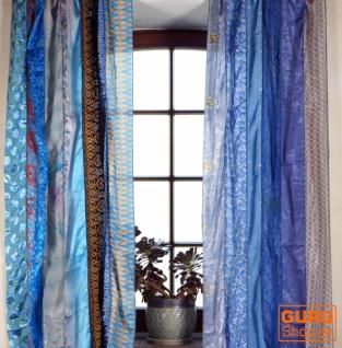 1 Paar Vorhänge (2 Stk.) Gardine aus Patchwork Sareestoff, Unikat - blau