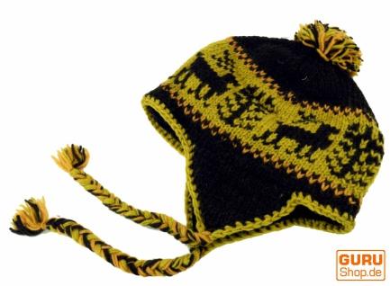 Wollmütze mit Ohrenklappen, Norwegerrmütze - moosgrün