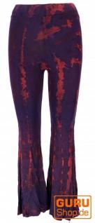 Batik Leggings mit Schlag, Boho Schlaghose - plum