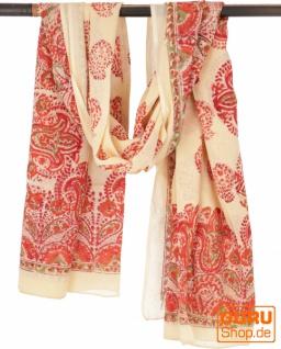 Leichter Pareo, Sarong, handbedrucktes Baumwolltuch - Farb Kombination 38