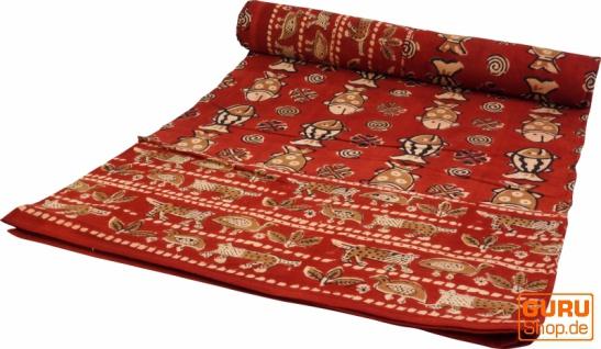 Blockdruck Tagesdecke, Bett & Sofaüberwurf, handgearbeiteter Wandbehang, Wandtuch rot, mehrfarbig - Design 14