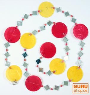 bunte Muschelkette, Sonnenfänger 140 cm - rot/gelb