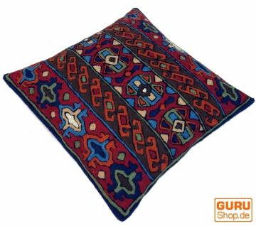 Kelim Kissenhülle `Kaschmir`, bestickter Kissenbezug, Dekokissen aus Wolle - Muster 17