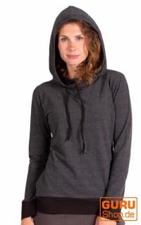 Pullover, Langarmshirt mit Kapuze aus Bio-Baumwolle / Chapati Design - black
