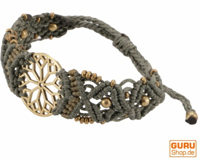 Goa Armband, Makramee, Festival Armband - Mandala/taupe Modell 27