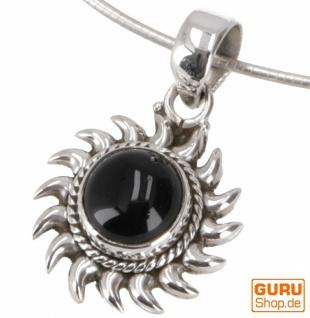 Ethno Silberanhänger, indischer Boho Kettenanhänger, Silberanhänger Sonne - Onyx