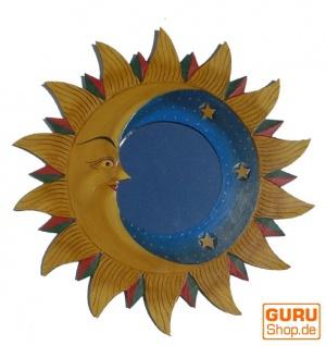 Sonnenspiegel, Deko Spiegel aus Holz in Sonnenform - Halbmond