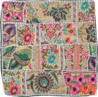 Patchwork Kissenhülle, Dekokissen Bezug aus Rajasthan, Einzelstück - Muster 41