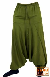 Haremshose Pluderhose, Unisex Pumphose, Aladinhose mit sehr langem Bein - olivgrün