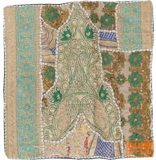 Patchwork Kissenhülle, Dekokissen Bezug aus Rajasthan, Einzelstück - Muster 45