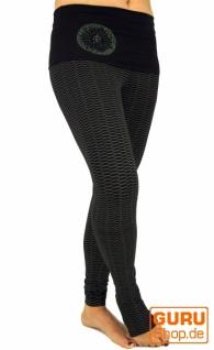 Yoga-Hose mit breitem Bund Bio Baumwolle Yogi - schwarz