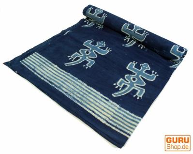 Blockdruck Tagesdecke, Bett & Sofaüberwurf, handgearbeiteter Wandbehang, Wandtuch blau, mehrfarbig - Design 14