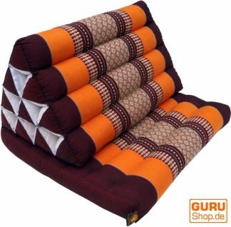 Thaikissen, Dreieckskissen, Kapok, Tagesbett mit 1 Auflage - braun/orange