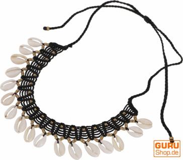 Ethno Kette, Tribal Goa Muschel Collier - schwarz