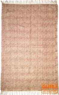 Handgewebter Blockdruck Teppich aus natur Baumwolle mit traditionellem Design - Muster 3