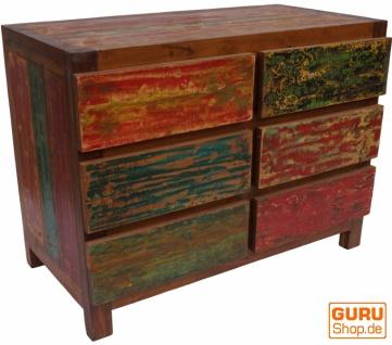 Kommode, Beistellschrank, Kommode, Fernsehschrank aus recyceltem Holz - Modell 4