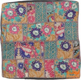Patchwork Kissenhülle, Dekokissen Bezug aus Rajasthan, Einzelstück - Muster 33