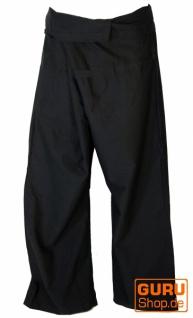 Thai Fischerhose aus fester Baumwolle, Wickelhose, Yogahose, Unigröße - Uni schwarz
