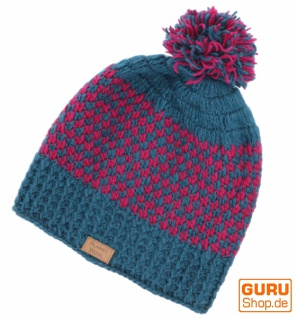 Beanie Mütze, Bommelmütze, Wollmütze aus Nepal - petrol/pink