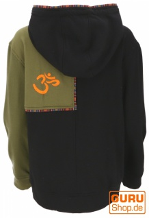 Goa Hoodie Jacke, Ethno Kapuzen Jacke - schwarz/olive - Vorschau 2
