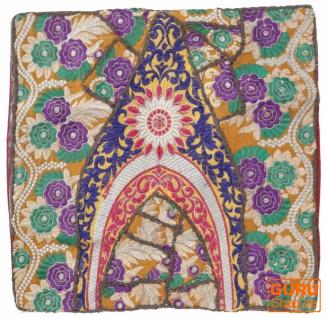 Patchwork Kissenhülle, Dekokissen Bezug aus Rajasthan, Einzelstück - Muster 65