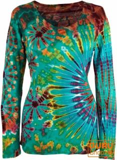 Batik Shirt, Langarmshirt - türkis