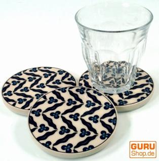 Orientalischer Keramikuntersetzer, runder Untersetzer für Gläser und Tassen mit Mandala Motiv Set - Muster 7