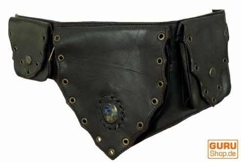 Sidebag, Festival Leder Gürteltasche, Goa Bauchtasche mit Halbedelstein - schwarz/braun