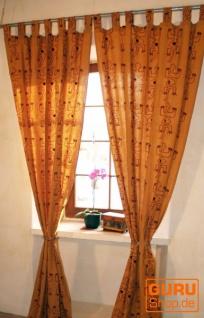Boho Vorhänge, Gardine (1 Paar ) mit Schlaufen, handbedruckter ethno Style Vorhang - Gecko Motiv