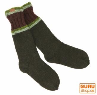 Handgestrickte Schafwollsocken, Haussocken, Nepal Socken - olivgrün