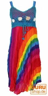 Boho Minikleid, Sommerkleid, Krinkelkleid - regenbogen/blau