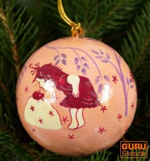 Upcyceling Weihnachtskugel aus Pappmachee, Handbemalter Christbaumschmuck, Kaschmirkugeln - Muster 31