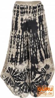 Farbenfroher Batik Hosenrock, weite Sommerhose - schwarz/weiß