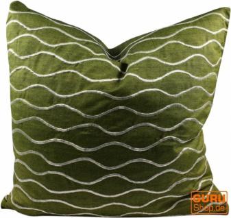 Retro Kissenhülle, Kissenbezug, Dekokissen - Welle grün