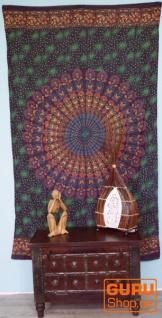 Leichter Mandala Pareo, Sarong, handbedrucktes Baumwolltuch, Wandbehang - Modell 23