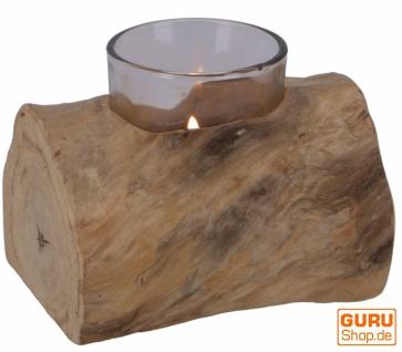 Kerzenleuchter aus Wurzelholz - mit Kerzenglas
