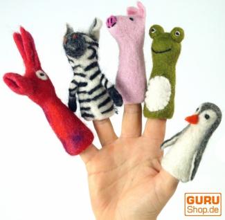 Handgemachte Fingerpuppe aus Filz - Polarfuchs 1 - Vorschau 2