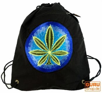 Bestickter Turnbeutel, Rucksack, Sportbeutel, Freizeitbeutel, Goa Beutel, Hippie Beutel - noir/Marihuana