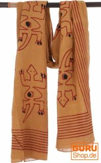 Leichter Pareo, Sarong, handbedrucktes Baumwolltuch - Farb Kombination 35
