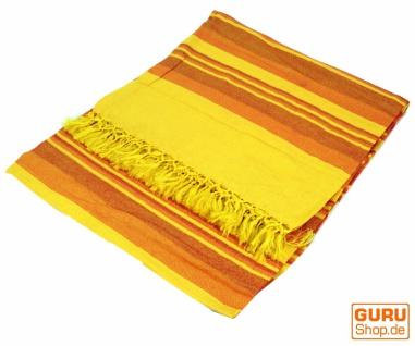 Weiche gewebte double Tagesdecke `Kerala` aus Baumwolle mit Fransen - gelb/braun gestreift