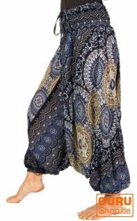 Afghani Hose, Overall, Jumpsuit, Haremshose, Pluderhose, Pumphose, Aladinhose - schwarz/taubenblau