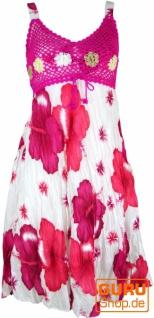 Boho Minikleid, Sommerkleid Hawaii, Krinkelkleid - weiß/fuchsia